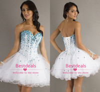 white sweetheart crystal organza homecoming dresses 2014 lac...