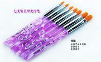 Brush Cleaners & Accessories 7 Pcs Plastic 7pcs Flat UV Gel Acrylic Nail Brush Kit Art Builder Painting Pen Design Set Nail Art Brush