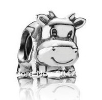Wholesale Wholesaler Sterling Silver Cow European Charm Pandora Beads Compatible with Snake chain Bracelets Jewelry