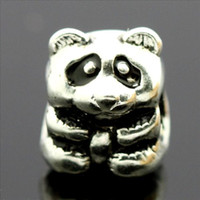 Wholesale Panda Sterling silver European charm Pandora Beads For Snake chain Braceletss Necklaces jewelry