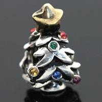 Wholesale Silver Christmas Tree Colorful CZ Crystal Rhinestone European Charms Pandora Beads Fits Snake Chain Bracelet