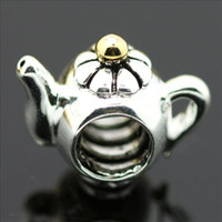 Wholesale Plated Gold Teapot Silver charm European Bead Compatible with Snake chain Bracelets women jewelry