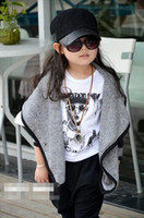 Wholesale 2014 Korea Hot Sell Spring Autumn Winter Fashion Children s Gray Clothing Girls Long Sleeve Tutu Knitting V Neck Wool Coat T E0250