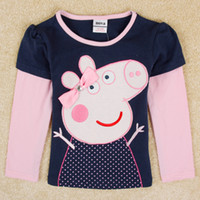 Wholesale nova stock peppa pig girls autumn clothing children navy long sleeved t shirts christmas babies clothes F4196