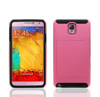 Wholesale Hybrid in PC Silicone Back Hard Case Cover For Samsung Galaxy Note III N9000 with Credit Card Holder