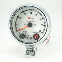 auto gauge rpm - 3 inch WHITE face LED light color tachometer gauge RPM car auto meter EL gauge