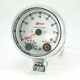 Wholesale 3 inch WHITE face LED light color tachometer gauge RPM car auto meter EL gauge