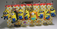 Wholesale 3D Despicable Me Minion Action Figure Keychain Keyring Key Ring Cute Promotion Gifts Card Package good price lowest DHL FREE