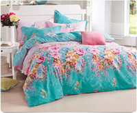 100% Cotton Knitted Home Free Shipping,100% Cotton Twill Spring Flower Pigment Print 4pcs Full Size Bedding Set,Quilt Cover+Sheet+Pillowcase Bedding Sets