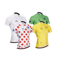 Tops Anti Bacterial Men Tour De France Cycling Top Jerseys Short Sleeve Bicycle Wear Yellow Green White Red Spot Road Racing Bike Clothing Riding Skinsuit