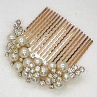 Wholesale Clear Crystal Rhinestone Faux Pearl hair Comb Bride Wedding party prom Hair Comb Fashion Hair Accessories jewelry L307 A2