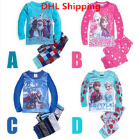 Wholesale Hot Colors Cartoon Frozen Anna Elsa Printing Pattern Kids Cotton Long Sleeve Pajamas Set Boys Girls Leisure Tracksuit Children Outfits DHL