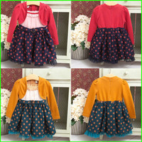 Wholesale Baby Girl Suits Coat Dress Dot Lace Tutu Dress Suits Princess Suits Kids Autumn Color Cotton Suits Children Fashion Clothing