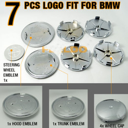 FULL SET OF 7PCS Black Carbon Fiber Front Rear Wheel Steering Caps Emblem Car Logo Badge 82mm+74mm+68mm+45mm Free Shipping
