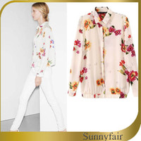 Regular Acetate Button Free Shipping 2014 Women Summer Celebrity Shirt Floral Patchwork Design Full Sleeve Tops Ladies Casual Lace Chiffon Blouse