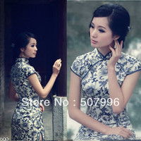 Wholesale Cheongsam fashion autumn Blue and white porcelain vintage chinese style mini cheongsam short dress D