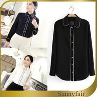 Cheap Free Shipping Women Summer Elegant Design Blouse Vintage White Black Full Sleeve Shirt Ladies Casual Chiffon Tops