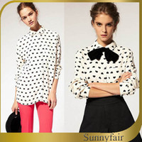 Long Acetate Polka Dot Free Shipping 2014 New Women Summer Vintage Long Style Shirt Casual Polka Full Sleeve Clothing Fashion Chiffon Tops