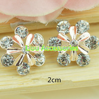 Cheap 50pcs lot 2 colors metal rhinestone buttons wedding embellishment hair bow garment DIY accessories