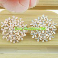 Cheap Free Shipping!50pcs lot 2 colors metal rhinestone button wedding embellishment hair bow garment DIY accessory
