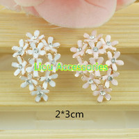 Cheap New arrival 50pcs lot 2 colors metal rhinestone button wedding embellishment hair bow garment DIY accessory