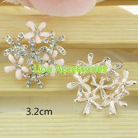 Cheap 50pcs lot 2 colors metal rhinestone button wedding embellishment hair bow garment DIY accessory