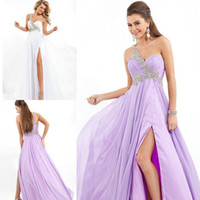 2014 Summer Fall Lavender Chiffon Empire Prom Dresses Shimme...