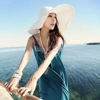 Wholesale 2014 Hot Summer Colorful Wide Large Brim Beach Sun Hat Straw Beach Cap For Ladies Elegant Girls Vacation Tour Hat B003