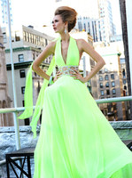 Reference Images Halter Chiffon Tarik Ediz Evening Party Gown New Fashion Elegant Sexy Halter V-Neck Sleeveless Crystal Beading Chiffon A-Line Long Long Prom Dress 2014