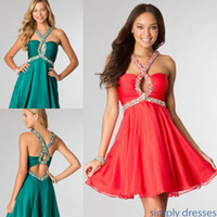 2014 Summer Fall New Coral Red Chiffon Short Homecoming Danc...