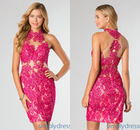 2014 Short Fuchsia Lace Sheath Homecoming Dresses Illusion H...