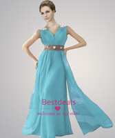 Wholesale New A Line long bridesmaid dresses Sexy V Neck backless sequins beaded crystal chiffon evening gowns prom dresses CPS061