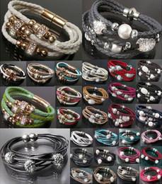 Wholesale Hot selling crystal shamballa bracelet pearl Charm Handmade women bracelet Mix color Leather bracelet