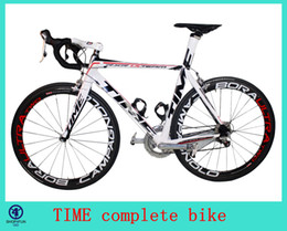 Wholesale 2014 TIME complete road bike bicycle full carbon fiber WHITE color mm wheels Powerway R13 Hubs ULTEGRA groupset