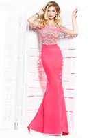 Reference Images Scoop Elastic Satin Tarik Ediz Formal Evening Party Gown New Fashion Elegant Sexy Scoop Neck Short Sleeve Pink Beading Beaded Long Mermaid Prom Dresses 2014