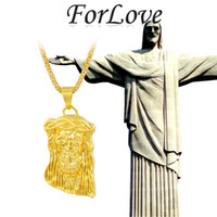 Wholesale ForLove Hip Hop JESUS Christ Piece Cool Pendant amp Necklace with free inches Chain Real K Gold for man men Jewelry new X199