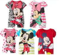Wholesale In Stock For Baby Kids One piece Short Sleeve Romper Miki Minnie Mouse Children Flat Foot Sleepsuit Childs Clothing Bodysuit H1073