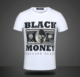 Wholesale Philipp plein men s short sleeve T shirt black money blasting with men t shirts