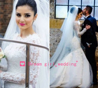 New Elegant 2014 white Mermaid Wedding Dresses High Collar L...