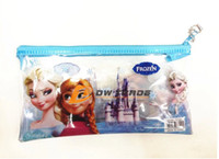 Wholesale 10pcs PVC Transparent Frozen Pencil case and pen bag and frozen stationery Hot Kids Gift Favor J071601