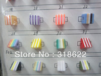 Wholesale 31 Colors for Choosing mm mm Multi color Cube Square Striped Beads set Fashion Resin Stripes Beads