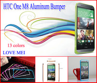 For HTC   0.7mm LOVE MEI Hippocampal Buckle Aluminium Metal Bumper Shell Frame For HTC One M8 With Package 13 colors free shipping