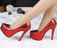 Wedding Heels High Heel 2014 Free Shipping Shining Sequins High Heels Formal Shoes Women's Charming High Heels Evening Prom Party Women Silver Wedding Shoes