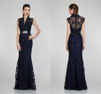Reference Images High Neck Lace 2014 Hot Sale Ready To Ship V-neck Cap Sleeve Lace A-line Floor Length Beading Crystal High Neck Bow Vestidos De Fiesta Prom Evening Dresses
