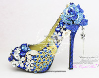 other amazing bridal shoes - Royal Blue Wedding Shoes New Customized Amazing rhinestone High heel pumps blue bridal party shoes Blue women shoes and matching bags