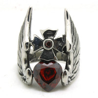 Band Rings Punk Style Men's Mens Boys 316L Stainless Steel Cool Ruby CZ Heart Shape Eagle Wing Cross Newest Ring