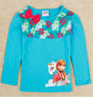 frozen tshirt - 2014 New Arrival Summer Froze Elsa Anna Children Girls Light Blue Long Sleeve Cartoon Tshirt Kids Clothing Clothes Cotton Bow T Shirt E0256