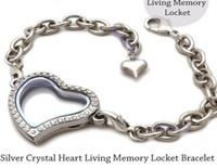 Wholesale 5pcs Silver Crystal Heart Living Memory Locket Bracelet For Floating Charm
