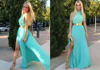 Reference Images High Neck Chiffon 2014 Simple Sage Split Side Prom Dresses Crossover High Neck Back Zipper Floor Length Pleated Chiffon Evening Gown Cheap