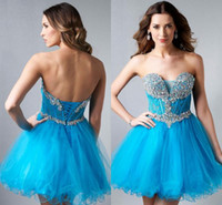 Cheap Fashion 2015 Appliques Beaded A Line Tulle Short Prom Homecoming Dresses Sweetheart Corset Graduation Gowns Cocktail Gown Sexy Prom Dress